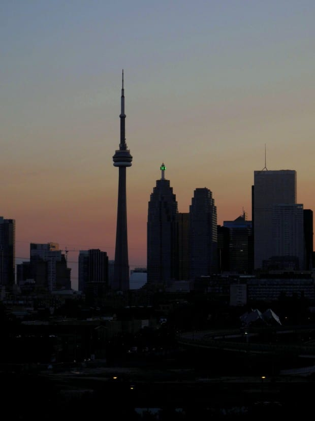 Toronto's skyline at dusk, photo by Michelle Dean