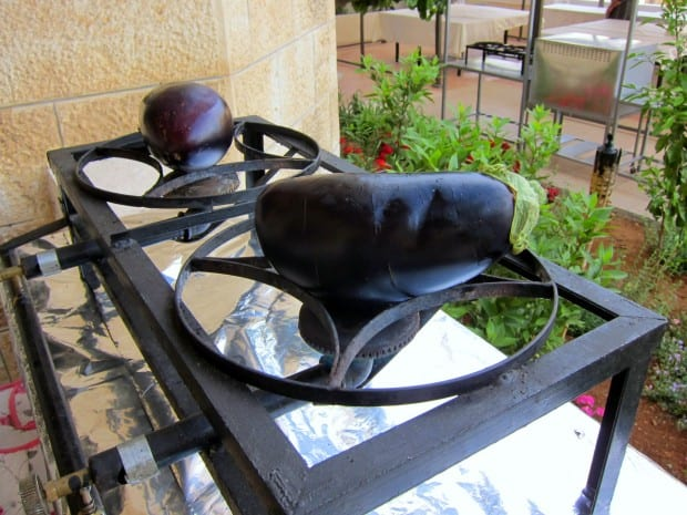 Roasting Eggplant at Beit Sitti in Amman, Jordan