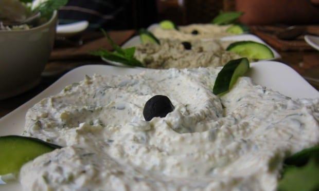 Moutabal and yoghurt cucumber dip in Jordan
