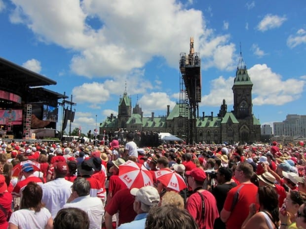 A packed Parliament Hill at the start of the Canada Day concert.