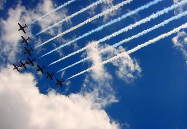 Snowbirds flyover during Canada Day in Ottawa