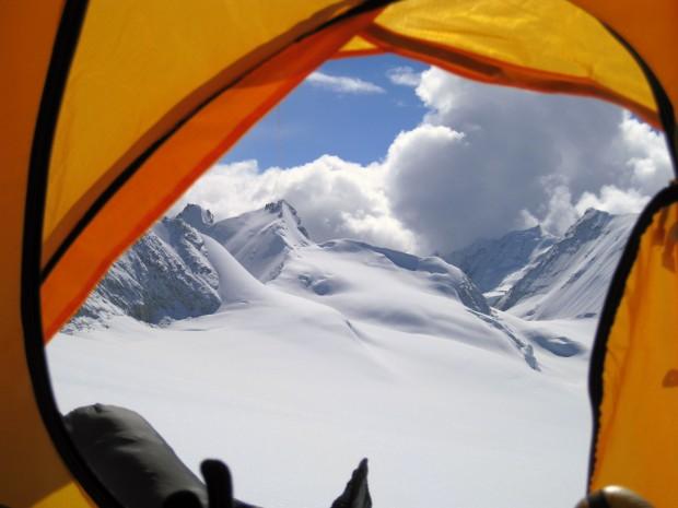 View from a tent at Makalu, near Sherpani Col Nepal