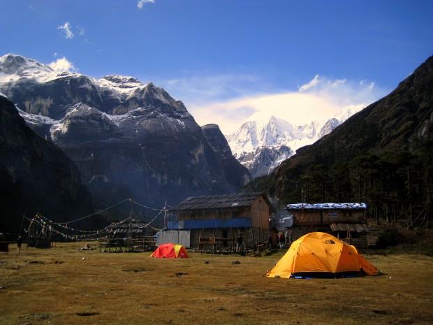 Camp at Yangri Kharka, Nepal at 3600 metres, during the Makalu trek