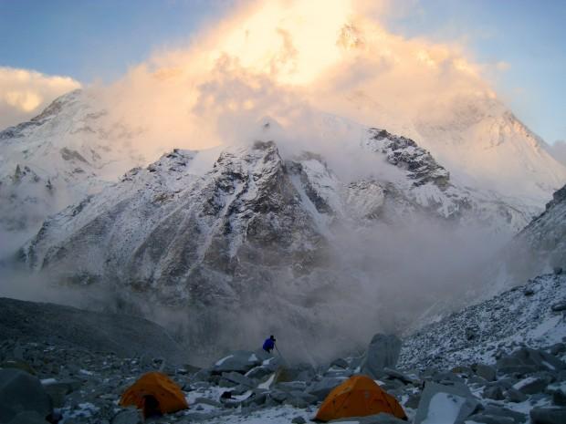 Makalu, Nepal at sunset.