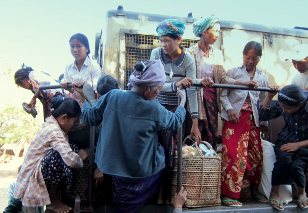Jostling for a place on the train to Myitkyina