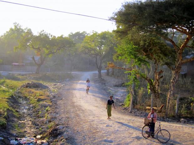 Sun-drenched roads alongside the train to Myitkyina