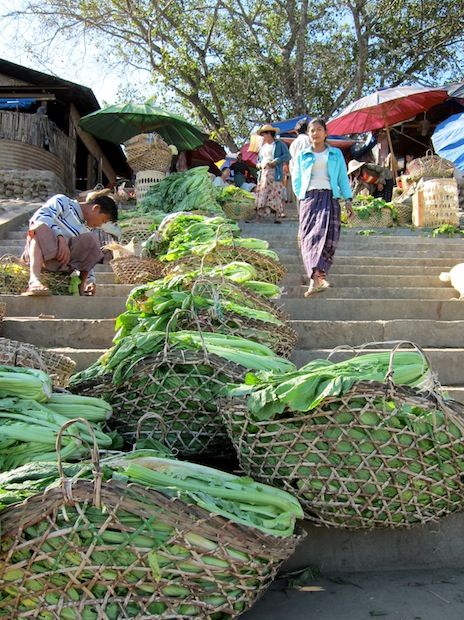 Market lining the stairs in Myitkyina