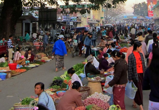 Evening market in Myitkyina, Burma