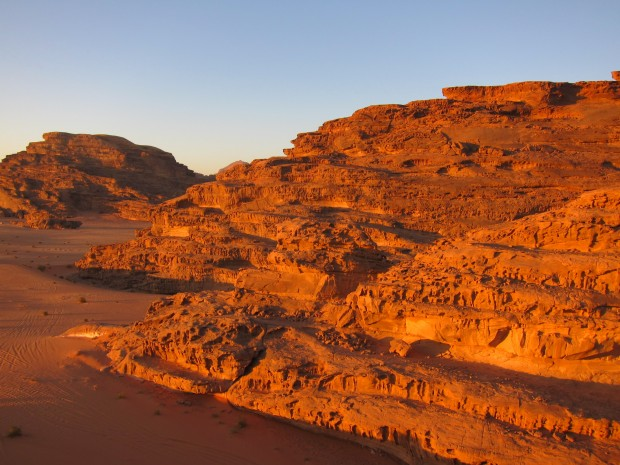 Golden cliffs at Wadi Rum, Jordan