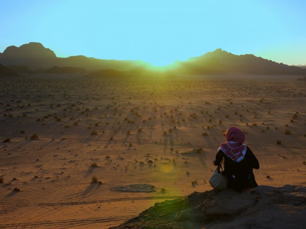 Watching the sunset at Wadi Rum