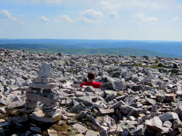 Sitting in a bowl of scree atop Gros Morne in Newfoundland