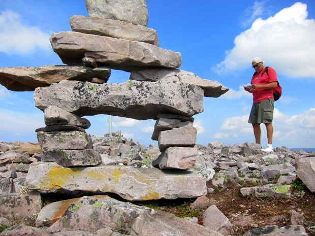 Inukshuk atop Gros Morne National Park in Newfoundland