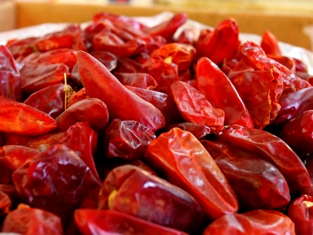 Dried chilli in the spice souqs of Meknes, Morocco