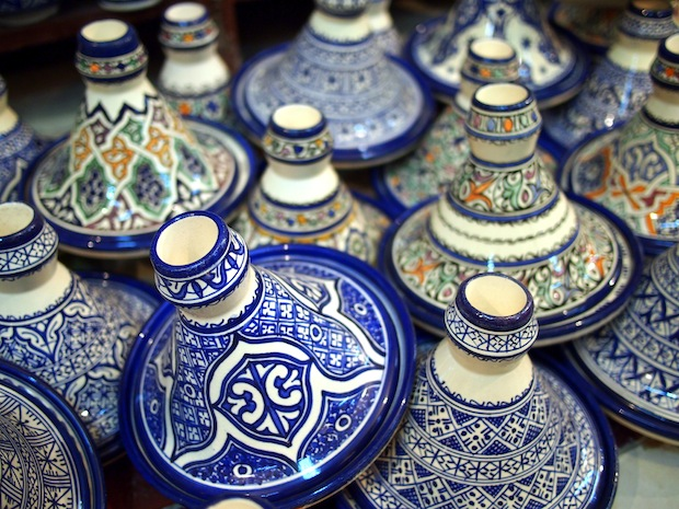 Ceramic tagines at the pottery village in Fez, Morocco