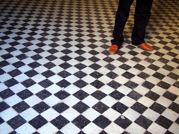 Tiled floor in Fez' oldest madrassa, Morocco