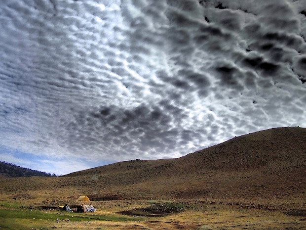 Cottonball clouds on the long drive from Fez to Zaita and into the Sahara