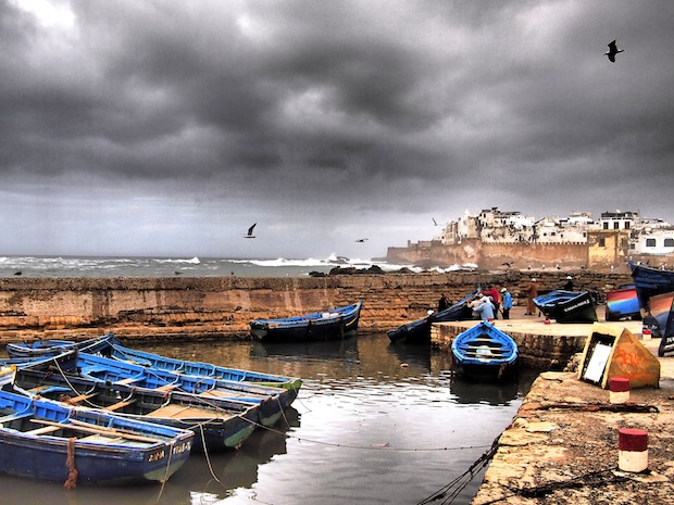 Stormy port in Essouira, Morocco