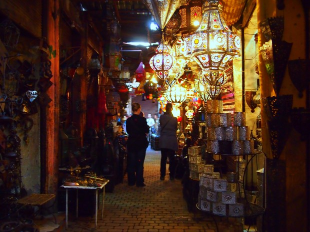 Traditional Moroccan lanterns in the Marrakesh souk