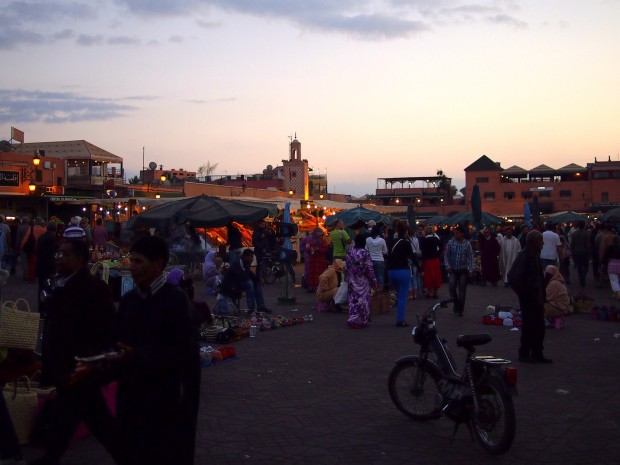 The Djemaa el-Fna at dusk, in Marrakesh