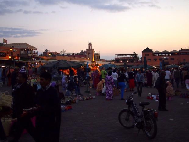 The Djemaa el-Fna at dusk, in Marrakesh