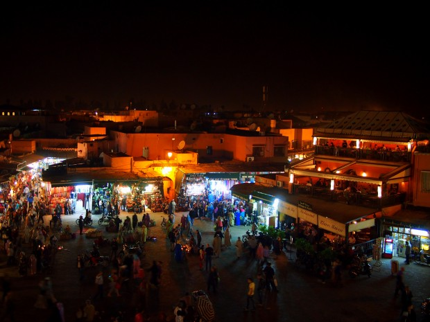 Djemaa el-Fnaa at night in Marrakesh from Cafe de France
