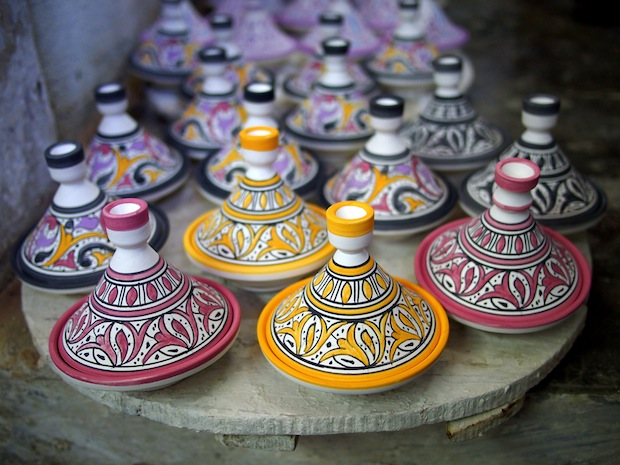 Handpainted tangineres at a pottery-making village near Fez