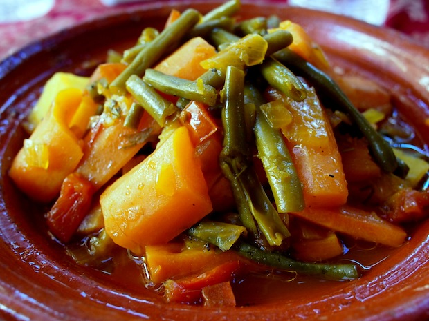 Chicken tagine with potatoes, green beans and carrots in Rabat