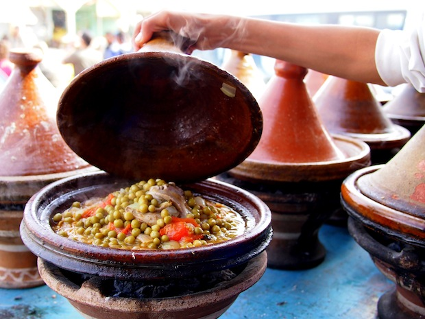 Mutton tagine with green peas in Zaita, Morocco