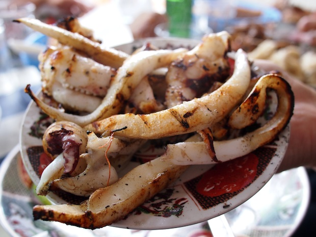 Grilled squid in Essaouira, Morocco