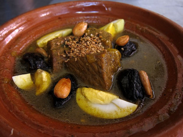 Beef, prune and almond tagine in Marrakesh
