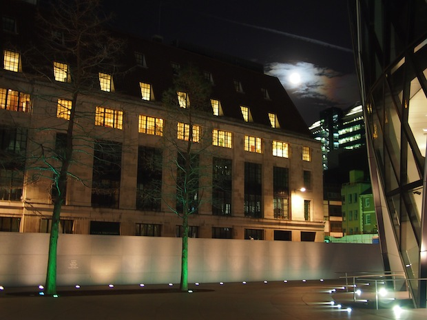 Lunar eclipse rising over London