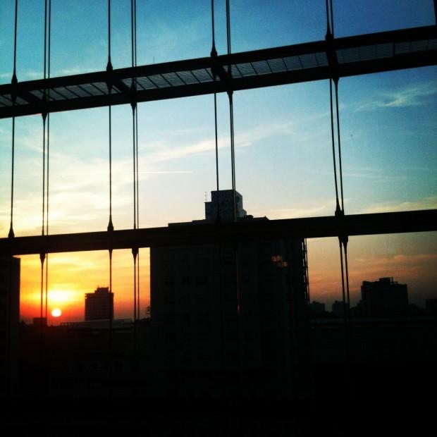 A Porto sunset from the Sheraton's elevators.