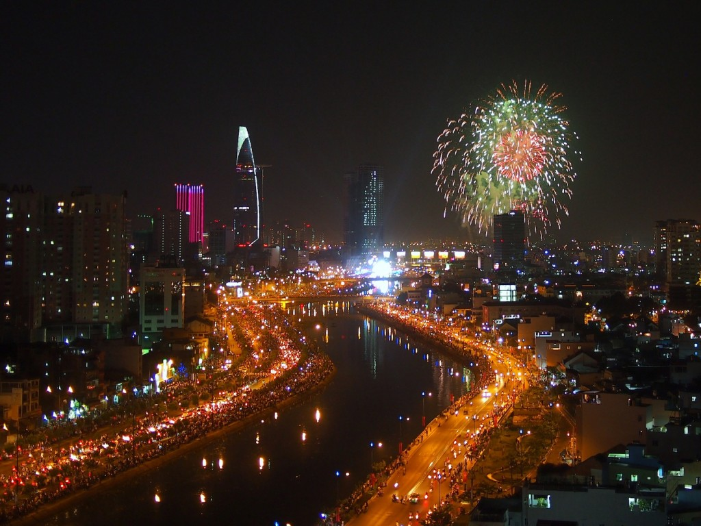 Fireworks over Saigon for Tet