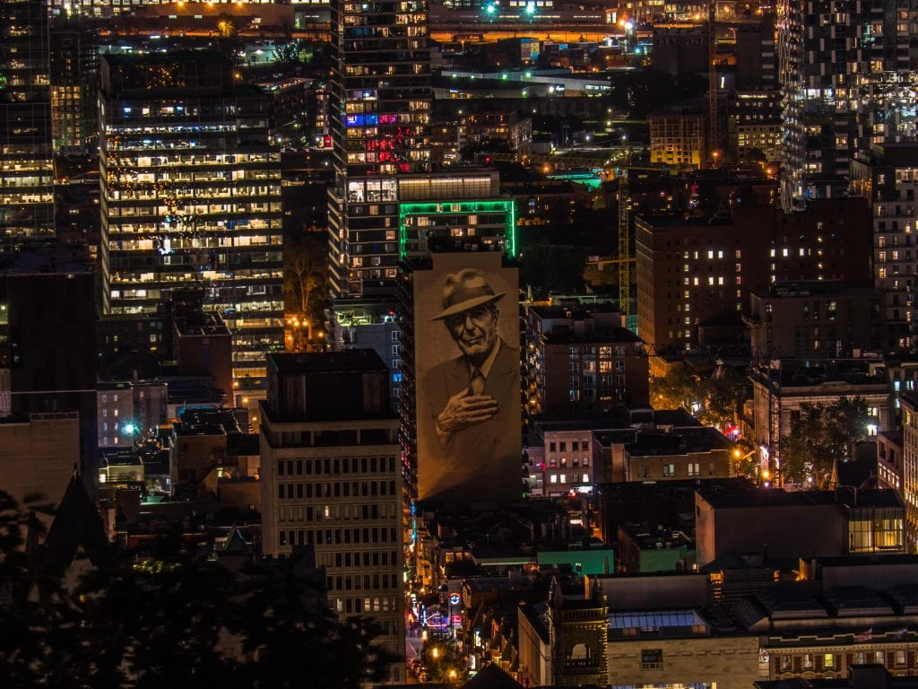Montreal and Leonard Cohen at Night by Mike Rigney